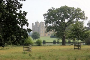 Burghley House seen across the park
