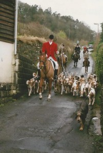 Bringing hounds to the Boxing Day Meet at Knighton.