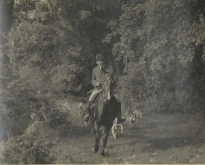 Hunting the Puckeridge Hounds as a young man.