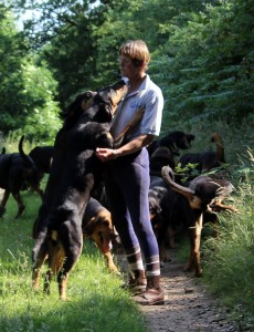 Fiona Clarke with the bloodhounds