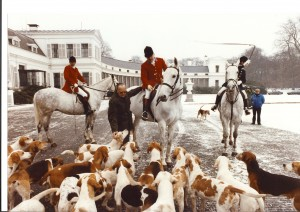HRH Prince Bernhard inspecting hounds in front of the Soestdijk Palace with Master J Bakker