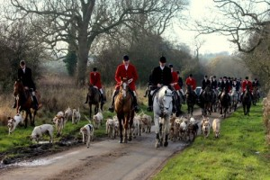 Peter with the Quorn Hounds from a meet at Hickling