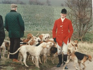 A very young looking me with my hounds!