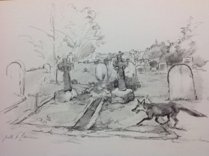 This sketch by the Australian artist Judith Leman depicts a fox visiting the Barclay Family Graves.