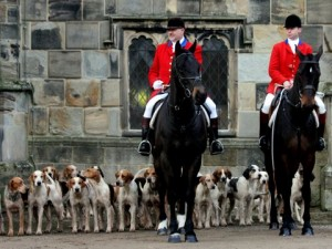 Gary Watchman left Joint Master and right his son Gareth, Huntsman of the South Durham with Hounds from their Meet at Auckland Castle.