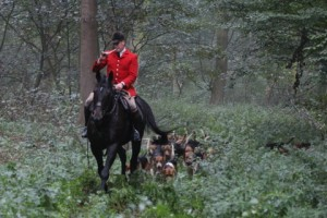 Gareth Bow Huntsman to the Brocklesby blowing for his Hounds