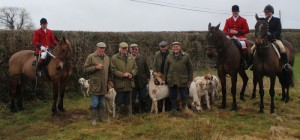 Huntsman Simon Jones with his Joint Masters and Hunt Supporters